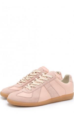 Кожаные кеды Replica на шнуровке Maison Margiela. Цвет: розовый