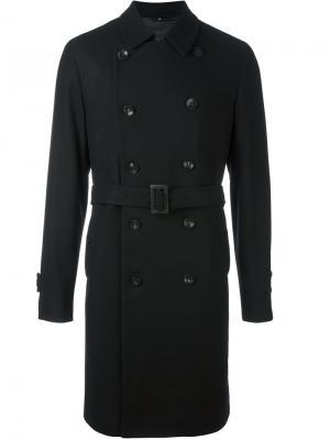 Двубортное пальто Hevo. Цвет: чёрный