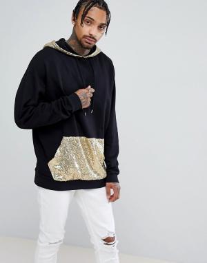 ASOS Oversize-худи удлиненного кроя с золотистыми пайетками на капюшоне и к. Цвет: черный