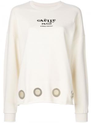Джемпер с длинными рукавами и люверсами Gaelle Bonheur. Цвет: белый
