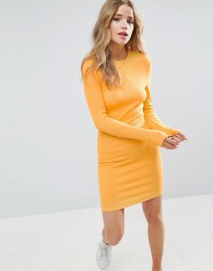 ASOS Облегающее платье мини в рубчик с длинными рукавами. Цвет: оранжевый