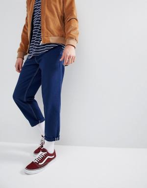 ASOS Синие расклешенные джинсы с контрастными строчками. Цвет: синий