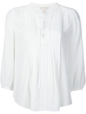 Блузка с завязками на горловине Rebecca Taylor. Цвет: белый