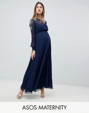ASOS Maternity Платье макси для беременных с отделкой на плечах DESIGN. Цвет: темно-синий
