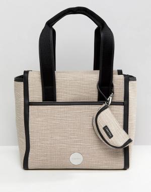 Calvin Klein Парусиновая сумка-тоут. Цвет: коричневый