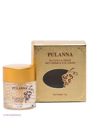 Омолаживающий крем для век Bio-gold &Grape Anti-wrinkle EyeCream, 21 г PULANNA. Цвет: золотистый