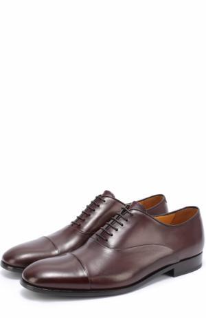 Классические кожаные оксфорды Giorgio Armani. Цвет: бордовый
