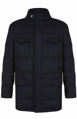 Пуховая куртка из шерсти с воротником-стойкой Brioni. Цвет: темно-синий