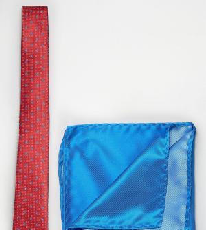 Selected Галстук в мелкий горошек с принтом пейсли и платок для нагрудного карм. Цвет: красный