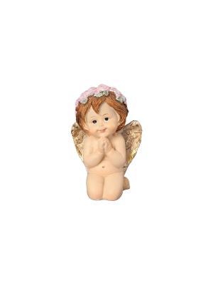 Фигурка декоративная Задумчивый ангелочек в венке Elan Gallery. Цвет: бежевый, золотистый, коричневый