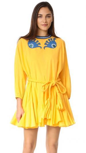 Платье с вышивкой Ella Rhode Resort. Цвет: канареечный