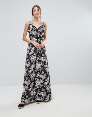Uttam Boutique Платье макси с цветочным принтом и кружевной отделкой. Цвет: черный