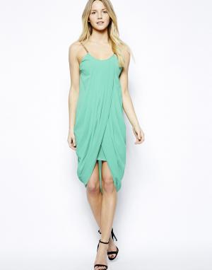 Драпированное платье на бретельках-цепочках  Anja Jovonnista. Цвет: зеленый