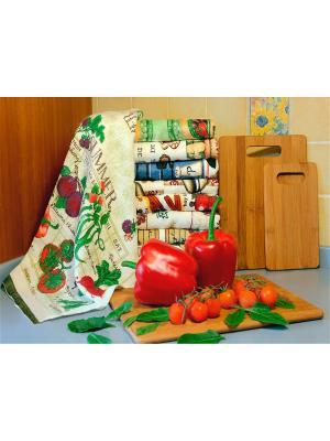 Полотенце для кухни Хлопковый Край. Цвет: бежевый, красный, фиолетовый