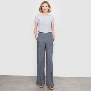 Брюки широкие, льняной меланж с эффектом джинсовой ткани La Redoute Collections. Цвет: синий индиго
