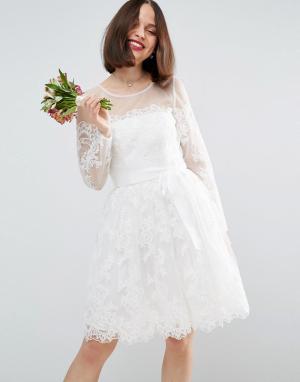 ASOS Кружевное платье мини с длинными рукавами BRIDAL. Цвет: белый