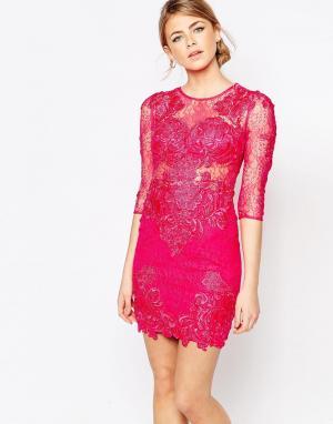 Forever Unique Кружевное платье. Цвет: розовый