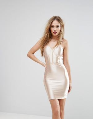 NaaNaa Блестящее облегающее платье с корсетной отделкой. Цвет: золотой