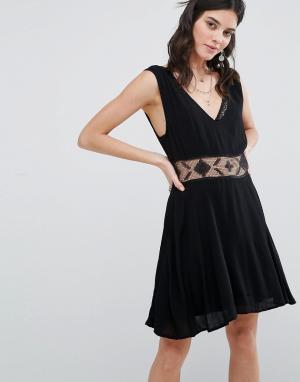 Free People Платье со вставкой Summer Feeling. Цвет: черный