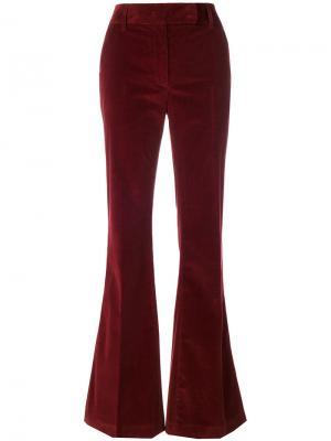 Бархатные брюки клеш Prada. Цвет: красный