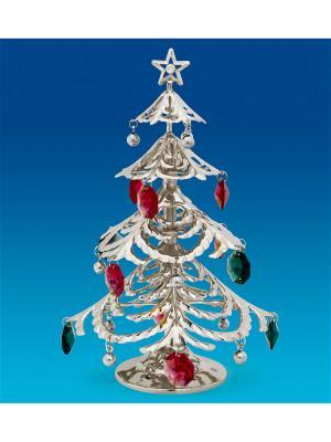 Фигурка Новогодняя елка посеребр. с цв.кр. Юнион. Цвет: золотистый