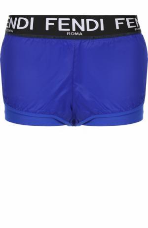 Спортивные мини-шорты с логотипом бренда Fendi. Цвет: синий
