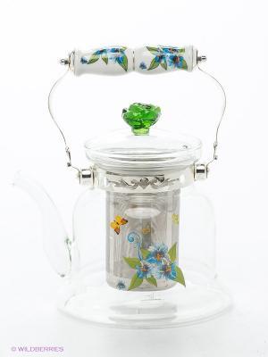 Чайник заварочный Bekker. Цвет: прозрачный, зеленый