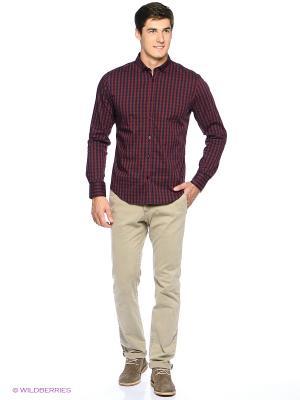 Рубашка Oodji. Цвет: бордовый