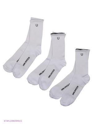 Носки спортивные 3 пары Unlimited. Цвет: белый