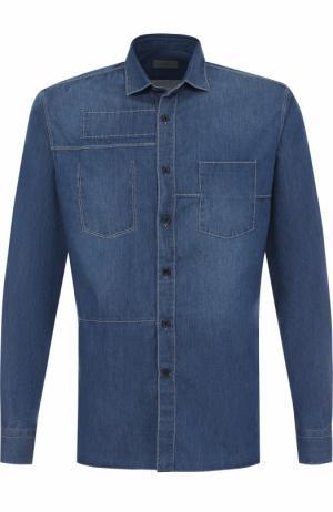 Хлопковая рубашка с контрастной прострочкой Lanvin. Цвет: темно-синий