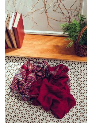Яркий платок с плетеной фактурой и бахромой, 93 x см. Nothing but Love. Цвет: темно-красный, белый, черный