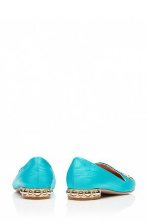 Лоферы с вышивкой Indian Sun Slipper Aquazzura. Цвет: голубой