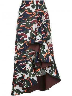 Драпированная юбка с камуфляжным принтом Dion Lee. Цвет: многоцветный