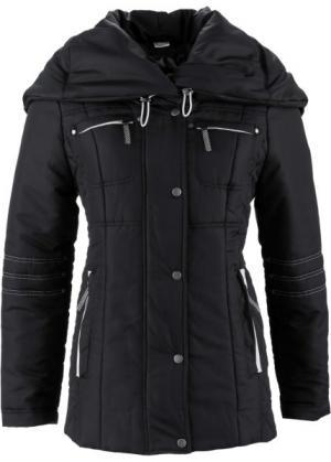 Стёганая куртка с большим воротником (черный) bonprix. Цвет: черный