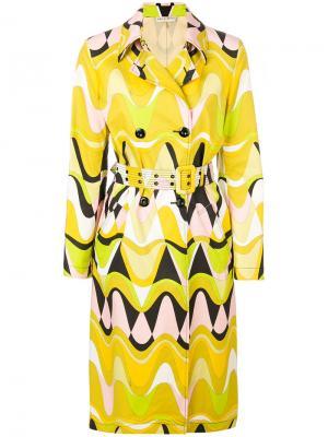 Пальто-тренч с принтом Emilio Pucci. Цвет: жёлтый и оранжевый