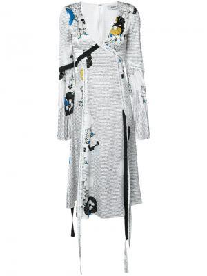 Платье с цветочным принтом и надписями Prabal Gurung. Цвет: белый