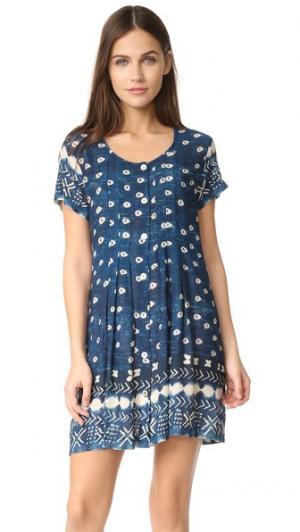Платье Wood из хлопка цвета индиго Jen's Pirate Booty. Цвет: голубой