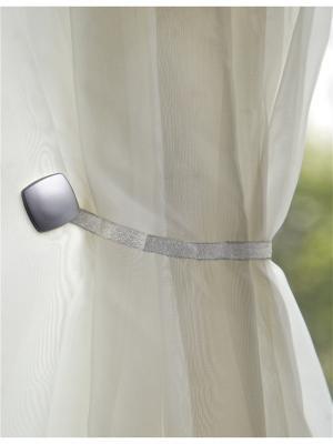 Магнитная клипса с лентой (26 см) Квадро хром (2 шт.) IZKOMODA. Цвет: серебристый