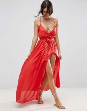 ASOS Пляжное платье макси с запахом. Цвет: красный