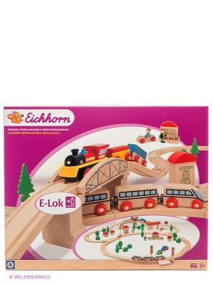 Набор деревянной ж/дс мостом и 2 поездами, 81 дет. Eichhorn. Цвет: сиреневый, бежевый