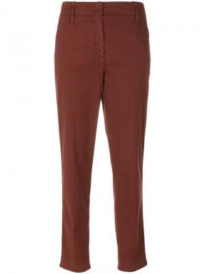 Укороченные суженные низу брюки Luisa Cerano. Цвет: коричневый
