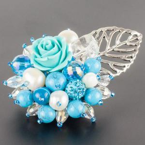 Брошь Флоренсия самоцветы, пластик, арт. бшС-2963 Бусики-Колечки. Цвет: голубой
