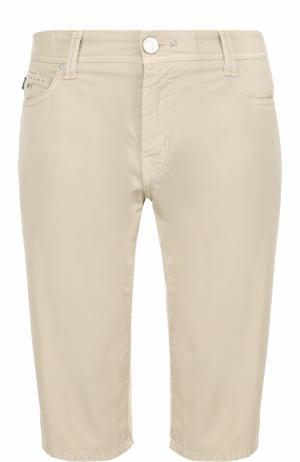 Хлопковые шорты с карманами Sartoria Tramarossa. Цвет: бежевый