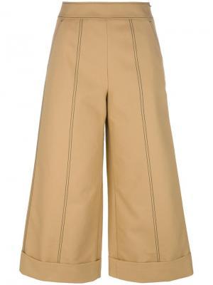 Укороченные широкие брюки MSGM. Цвет: коричневый