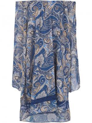 Платье с открытыми плечами и принтом пейсли Alice+Olivia. Цвет: синий
