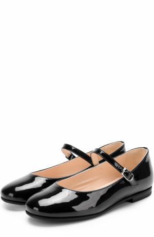 Лаковые туфли с ремешками Il Gufo. Цвет: черный