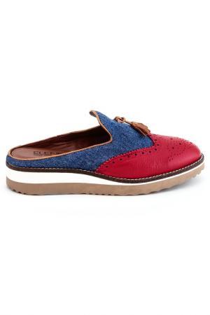 Туфли летние Elena. Цвет: красный, джинсовый, синий