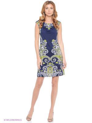 Платье London Times. Цвет: синий, зеленый