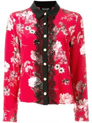 Блузка с цветочным принтом и кружевом The Kooples. Цвет: красный