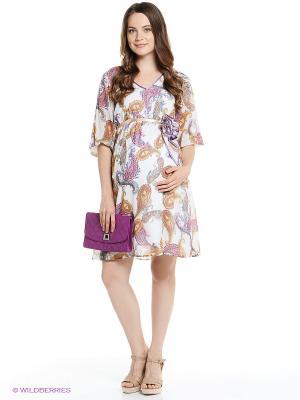 Платье I love mum. Цвет: белый, коричневый, сиреневый